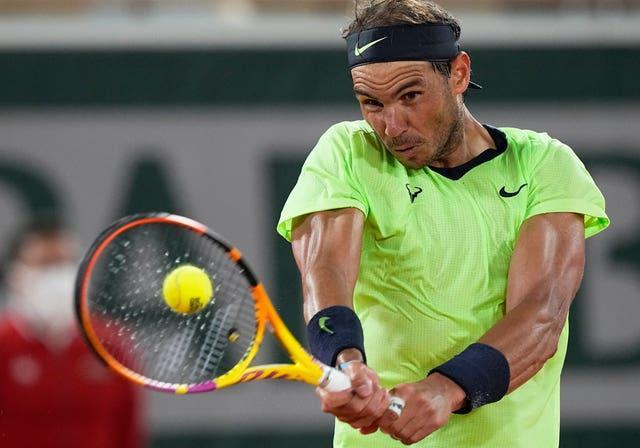 Rafael Nadal drives a backhand during his victory over Richard Gasquet