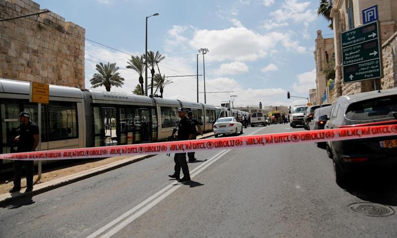 The scene of the knife attack in Jerusalem.