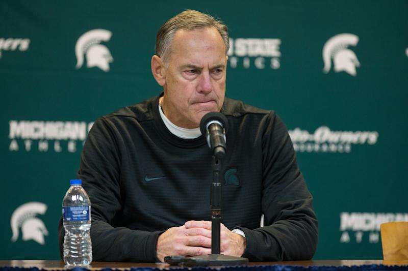 Michigan State head coach Mark Dantonio speaks during the post-game news conference following his team's blowout loss to Michigan. (Scott W. Grau/Icon Sportswire via Getty Images)