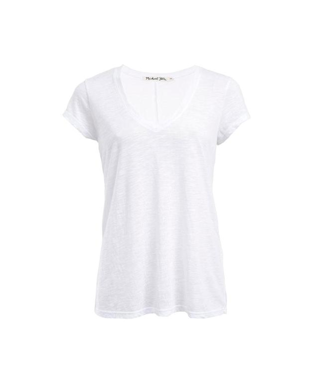 "<p>Brooklyn Jersey V-Neck with Center Back Seam in White, $68, <a href=""https://www.michaelstars.com/brooklyn-jersey-v-neck-with-center-back-seam-6992"" rel=""nofollow noopener"" target=""_blank"" data-ylk=""slk:michaelstars.com"" class=""link rapid-noclick-resp"">michaelstars.com</a> </p>"