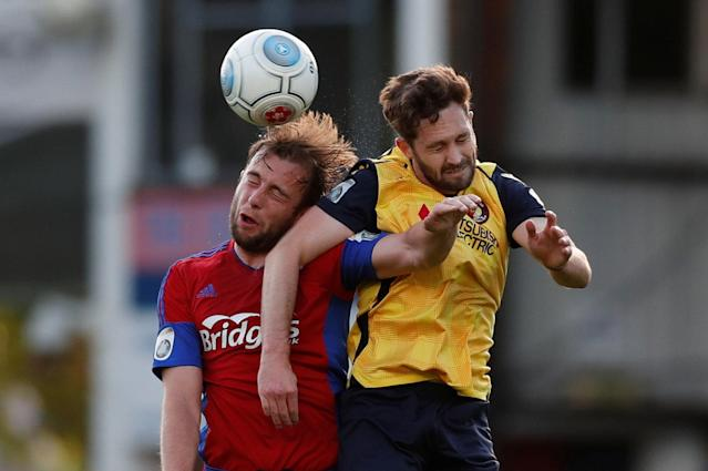 Soccer Football - National League Play-Off Eliminator - Aldershot Town v Ebbsfleet United - EBB Stadium, Aldershot, Britain - May 2, 2018 Aldershot Town's Jake Gallagher in action with Ebbsfleet United's Dean Rance Action Images/Peter Cziborra