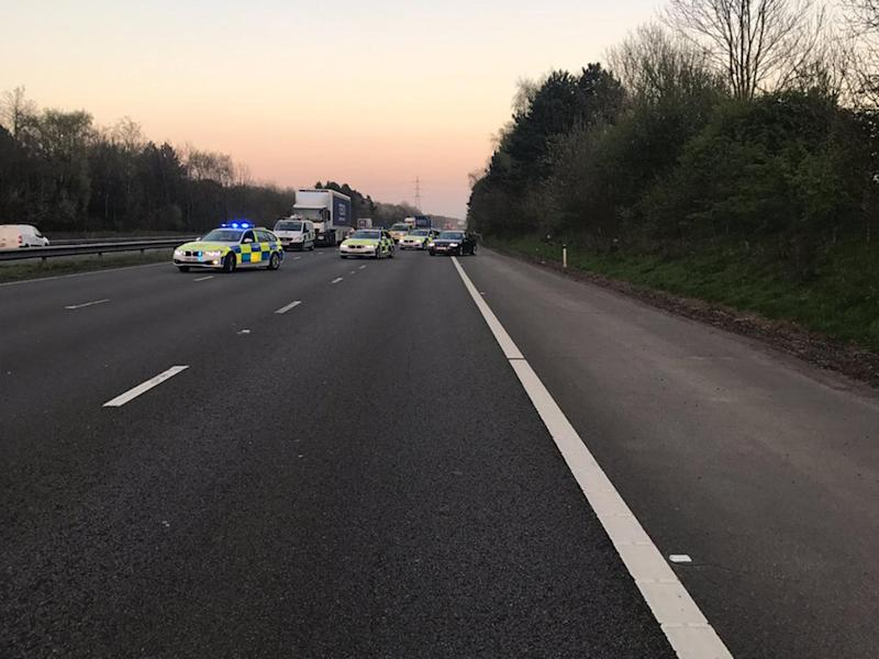 The M4 was closed for five hours following the incident: South Wales Police