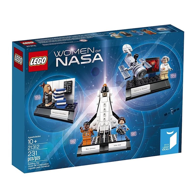 "It includes four minifigures of Nancy Grace Roman, Margaret Hamilton, Sally Ride and Mae Jemison<br /><strong>Price: <a href=""https://www.amazon.com/LEGO-Ideas-Women-21312-Building/dp/B071W77MBJ/"" target=""_blank"">$60</a></strong>"