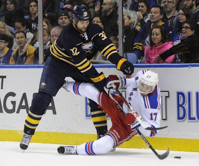 Buffalo Sabres' John Scott (32) finishes a check on New York Rangers' John Moore (17) during the first period of an NHL hockey game in Buffalo, N.Y., Friday, April 19, 2013. (AP Photo/Gary Wiepert)