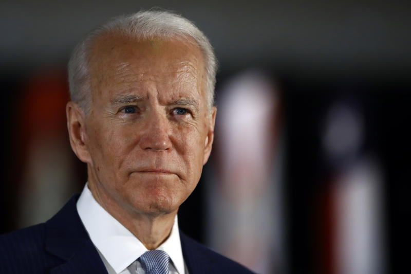 FILE - In this March 10, 2020, file photo, Democratic presidential candidate former Vice President Joe Biden speaks to members of the press at the National Constitution Center in Philadelphia. Biden is expected to give his first public comments on a sexual assault allegation that has roiled his presidential campaign. (AP Photo/Matt Rourke, File)