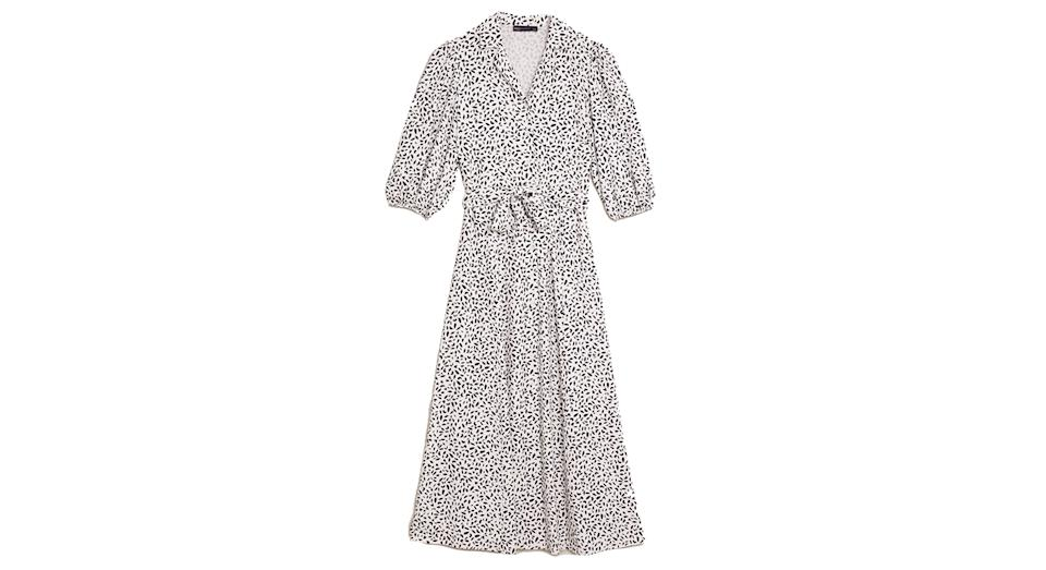 Printed Belted Midiaxi Shirt Dress