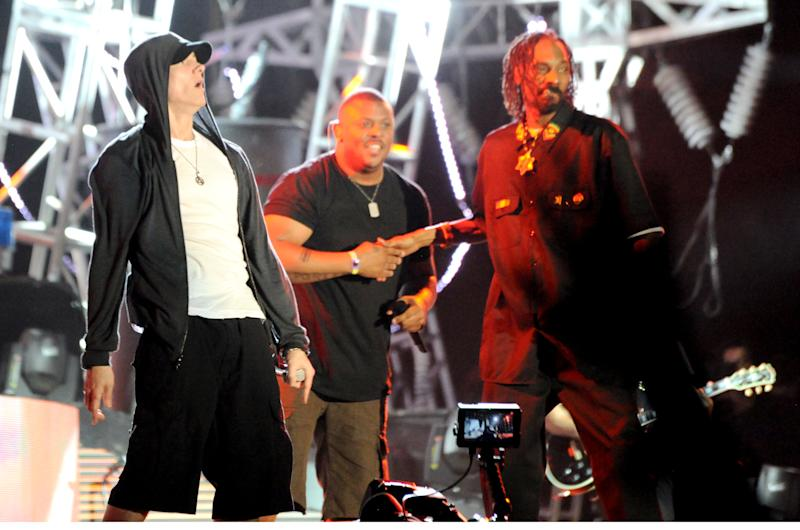 INDIO, CA - APRIL 22: Snoop Dogg and Eminem performs at day 3 of the 2012 Coachella Valley Music & Arts Festival at The Empire Polo Club on April 22, 2012 in Indio, California. (Photo by Jeff Kravitz/FilmMagic)