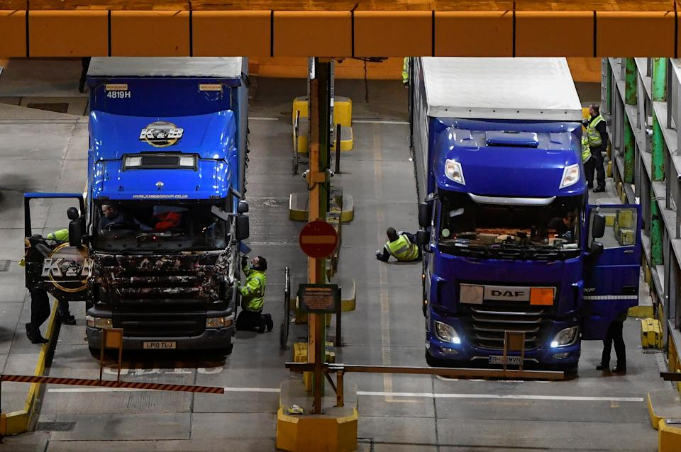 Freight lorries receive additional inspection checks after arriving at the Port of Dover following the end of the Brexit transition period, in Dover, Britain. Photo: Toby Melville/Reuters