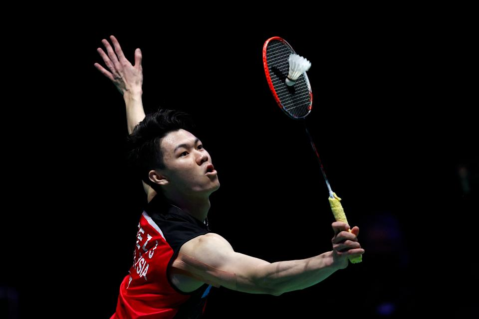 Malaysia's Lee Zii Jia in action at the All-England Open men's singles final.