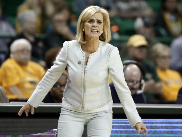 Baylor head coach Kim Mulkey instructs her team in the second half of a first-round game against Abilene Christian in the NCAA women's college basketball tournament in Waco, Texas, Saturday March 23, 2019. (AP Photo/Tony Gutierrez)