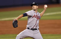 Atlanta Braves' Drew Smyly pitches during the first inning of a baseball game against the Miami Marlins, Sunday, June 13, 2021, in Miami. (AP Photo/Jim Rassol)