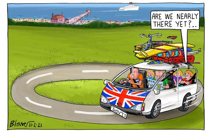 Cartoonist Blower's take on the Government's efforts to address hopes for summer holidays