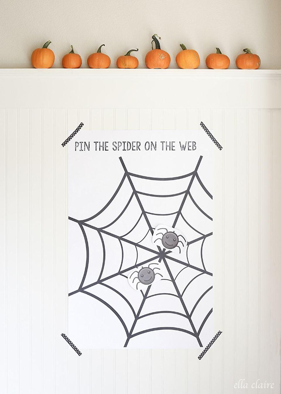 "<p>This game is super simple to make and play. See who can put the spider closest to the center of the web—no peeking!<br></p><p><strong>Get the tutorial at <a href=""https://www.ellaclaireinspired.com/pin-spider-web-free-printable/"" rel=""nofollow noopener"" target=""_blank"" data-ylk=""slk:Ella Claire"" class=""link rapid-noclick-resp"">Ella Claire</a>.</strong></p><p><a class=""link rapid-noclick-resp"" href=""https://www.amazon.com/ALLYDREW-Washi-Rolls-Masking-Tapes/dp/B07CQDY81J?tag=syn-yahoo-20&ascsubtag=%5Bartid%7C2139.g.34440360%5Bsrc%7Cyahoo-us"" rel=""nofollow noopener"" target=""_blank"" data-ylk=""slk:SHOP TAPE"">SHOP TAPE</a><br></p>"