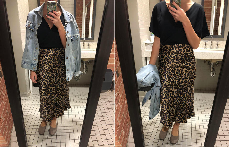 Day 4's look featured a printed midi skirt and an oversized denim jacket.