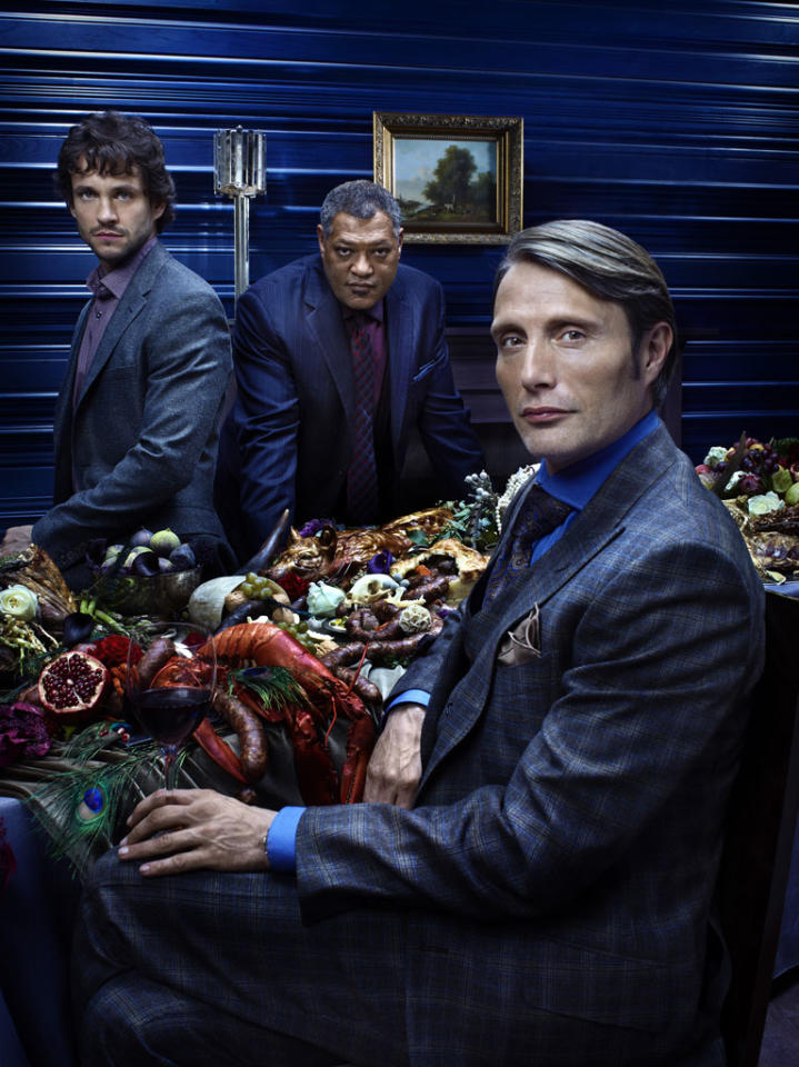"Hugh Dancy as Special Agent Will Graham, Laurence Fishburne as Agent Jack Crawford, and Mads Mikkelsen as Dr. Hannibal Lecter in ""Hannibal"" on NBC."