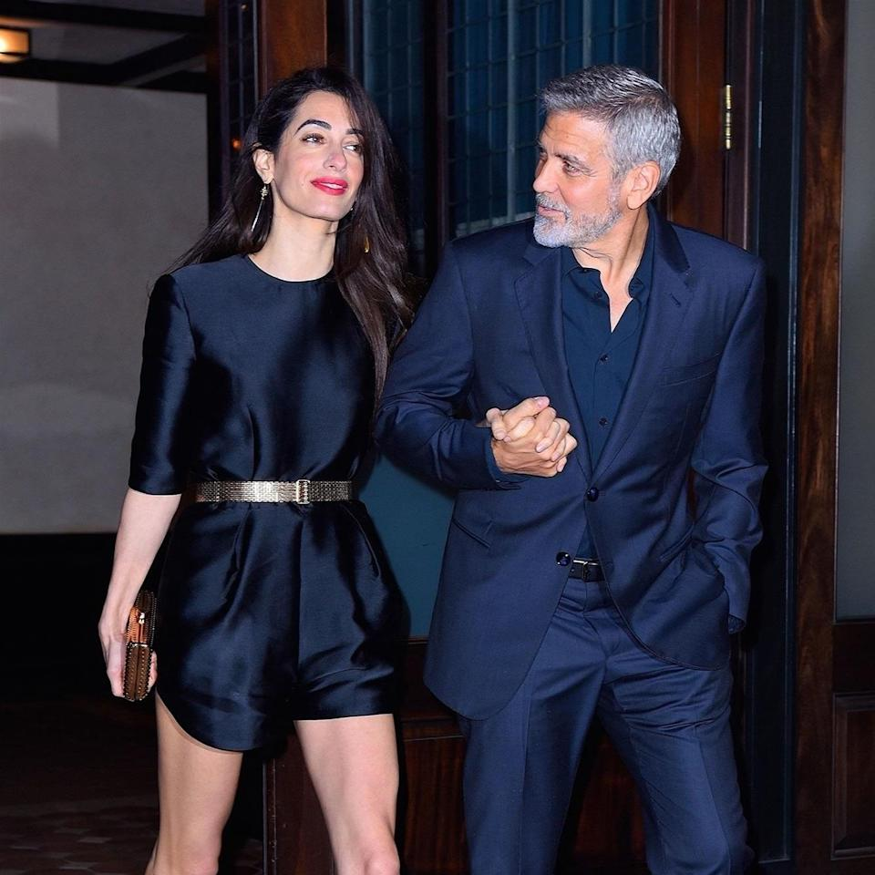 The human rights attorney, Amal Clooney, stepped out in a flirty new look to toast her husband, George Clooney's birthday.