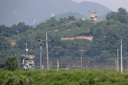 A North Korean guard post (top) faces a South Korean military post across the Demilitarized Zone dividing the peninsula