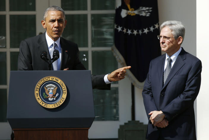 President Barack Obama announces Judge Merrick Garland as his nominee to the U.S. Supreme Court on March 16, 2016. (Kevin Lamarque/Reuters)