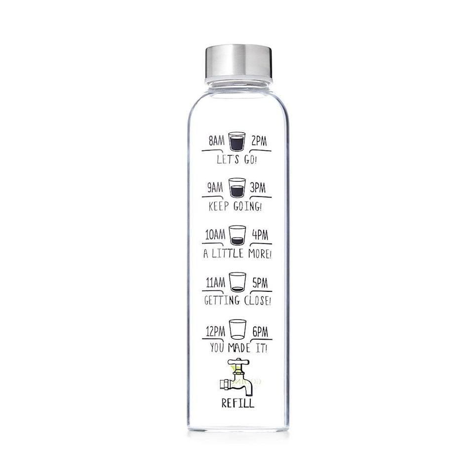 <p>Stay on track with your hydration goals with the <span>Drink More Water Bottle</span> ($15).</p>