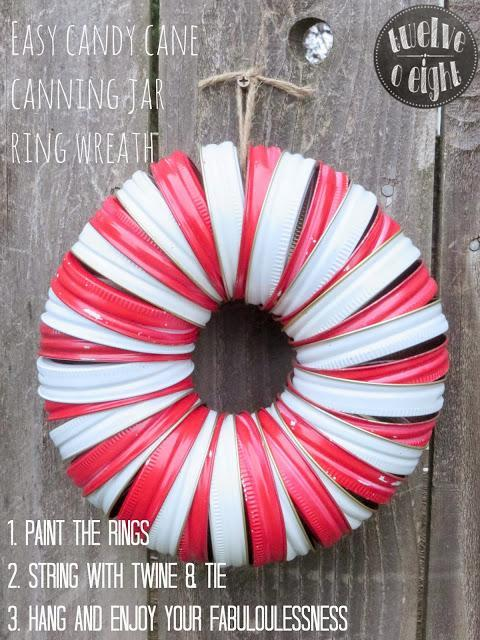 Extra Mason Jar Metal Screw Bands Laying Around Paint Them Red And White Make This Cute Shabby Chic Candy Cane Wreath