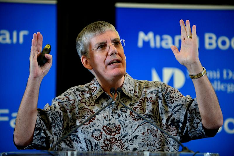 Author Rick Riordan speak about his new book 'MAGNUS CHASE & THE GODS OF ASGARD, BOOK 1, THE SWORD OF SUMMER' to a full house Presented by Books & Books in collaboration with The Center for Literature & Writing at Miami Dade College Chapman Conference Center on October 10, 2015 in Miami, Florida
