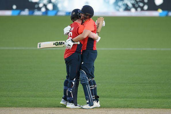 Eoin Morgan and Dawid Malan celebrating their record-breaking partnership.