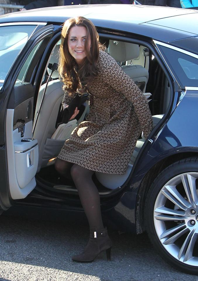 "<p>It's always important to exit gracefully ... even from a car. To <a href=""http://people.com/royals/meghan-markle-royal-etiquette-curtsy-tea-prince-harry/"" target=""_blank"">do this like Kate</a>, sit as close to the door as possible, then place both hands behind you as you turn with ankles and knees together to place your feet outside the car. Finally, when you stand and exit with a quick ""pop.""</p>"