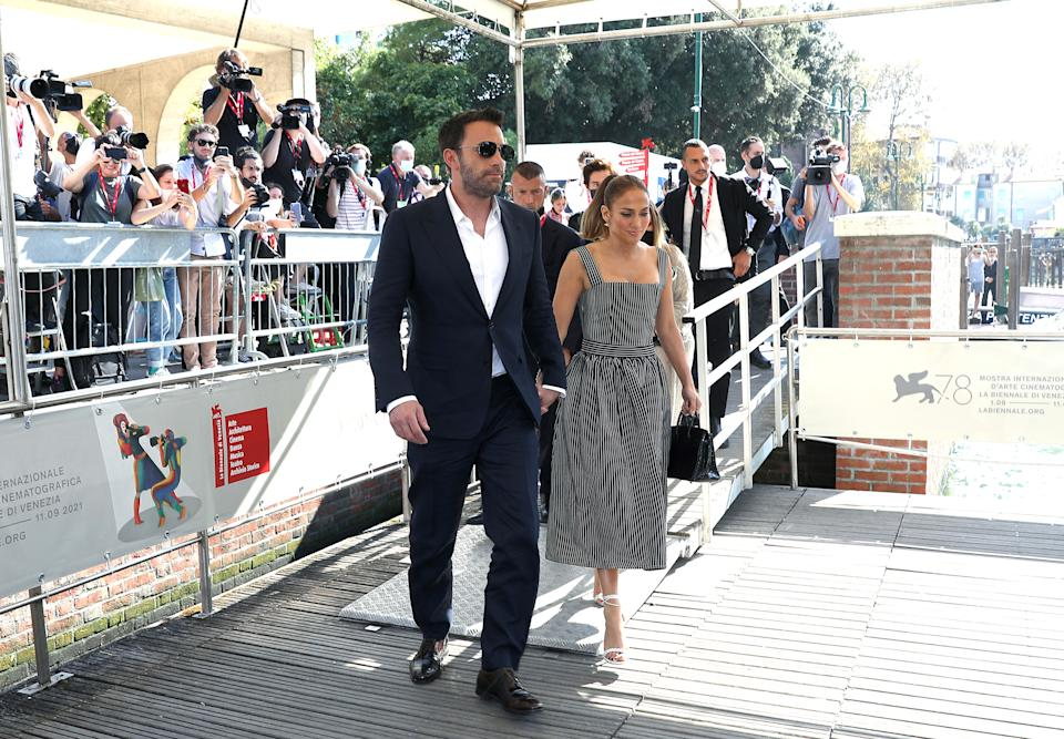 VENICE, ITALY - SEPTEMBER 10:  Ben Affleck and Jennifer Lopez depart the photocall of 20th Century Studios' movie