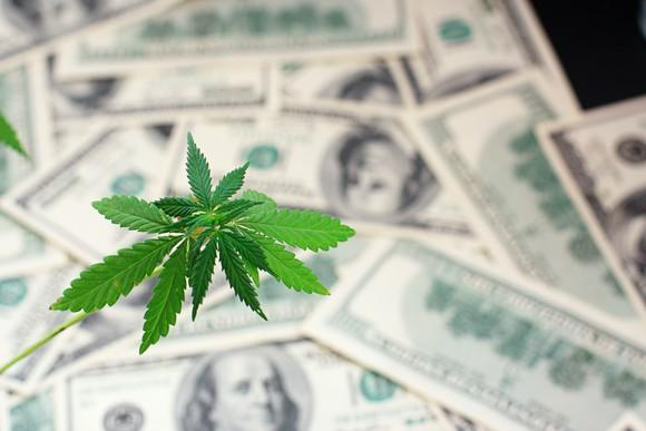 Marijuana leaf in front of a pile of $100 bills.