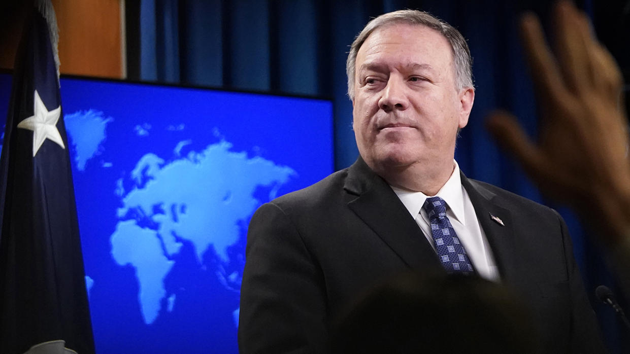 U.S. Secretary of State Mike Pompeo speaks at the U.S. State Department January 07, 2020 in Washington, DC. (Photo by Win McNamee/Getty Images)