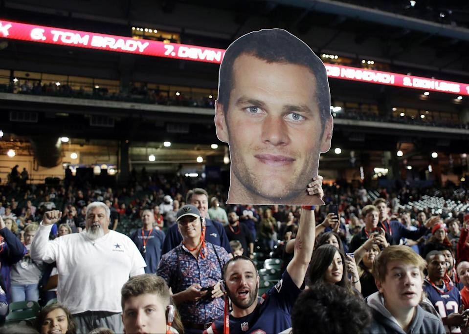 New England Patriots fans at Super Bowl LI Opening Night in Houston. (AP)