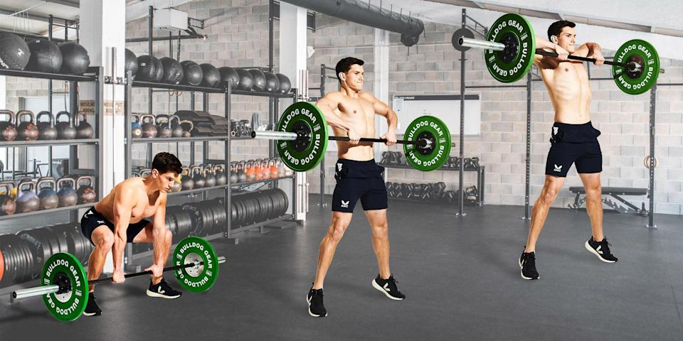"""<p>Don't be fooled. This may look like a move exclusively for muscle-bound bros, but use it with light weights and high reps and it'll serve as your new favourite conditioning move. The sumo deadlift high pull is a full-body exercise that requires strength, coordination and power. </p><p>""""It's a technical exercise, but it's well worth mastering,"""" says <a href=""""https://www.instagram.com/chrisjillard/"""" rel=""""nofollow noopener"""" target=""""_blank"""" data-ylk=""""slk:Chris Jillard"""" class=""""link rapid-noclick-resp"""">Chris Jillard</a>, PT at Feel Good Strength. """"The aim is to pull the bar vertically from the floor to your upper chest in one movement.""""</p><p>Thanks to the large range of motion, it employs almost all of the muscles in your posterior chain. That means you can get the maximum benefit from shorter workouts: burning calories, working your muscles and building up an engine. Start by adding it to one workout a week, and incorporate it into a circuit format. Try 30 seconds of hard effort on a <a href=""""https://www.menshealth.com/uk/fitness/g25733048/best-exercise-bikes-home-gym-equipment/"""" rel=""""nofollow noopener"""" target=""""_blank"""" data-ylk=""""slk:stationary bike"""" class=""""link rapid-noclick-resp"""">stationary bike</a>, 10 bodyweight squats and 12 sumo deadlift high pulls, resting for 60 to 90 seconds. Then repeat three or four times. Sweat towel at the ready.</p>"""