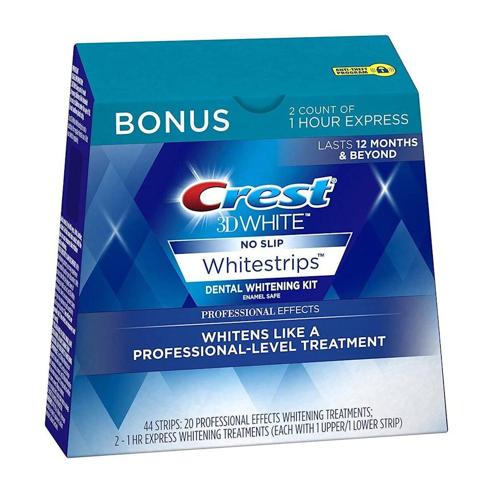 """<p>If you've noticed a little staining from your regular coffee or red wine fixes, <a href=""""https://www.allure.com/review/crest-3d-whitestrips-professional-effects?mbid=synd_yahoo_rss"""" rel=""""nofollow noopener"""" target=""""_blank"""" data-ylk=""""slk:Crest's 3D White Professional Effects Whitestrips"""" class=""""link rapid-noclick-resp"""">Crest's 3D White Professional Effects Whitestrips</a> are here to help. In fact, they use the same enamel-safe <a href=""""https://www.allure.com/story/best-drugstore-at-home-teeth-whitening-kits?mbid=synd_yahoo_rss"""" rel=""""nofollow noopener"""" target=""""_blank"""" data-ylk=""""slk:tooth whitening"""" class=""""link rapid-noclick-resp"""">tooth whitening</a> ingredient that dentists use: hydrogen peroxide. This simple kit doesn't even require any tools or equipment — just press the no-slip strips onto your teeth once a day for 30 minutes, and you'll start to see a whiter smile in just three days, and full results in 20 days.</p> <p>""""When people use strips properly, they can get very close to professional whitening,"""" <a href=""""https://nhdentistrybeverlyhills.com/dr-hadaegh/"""" rel=""""nofollow noopener"""" target=""""_blank"""" data-ylk=""""slk:Neil Hadaegh"""" class=""""link rapid-noclick-resp"""">Neil Hadaegh</a>, a cosmetic and restorative dentist in Beverly Hills, California, previously told <em>Allure.</em> Not too shabby for an at-home treatment.</p> $50, Amazon. <a href=""""https://www.amazon.com/Crest-Professional-Whitestrips-Whitening-Treatments/dp/B00AHAWWO0"""" rel=""""nofollow noopener"""" target=""""_blank"""" data-ylk=""""slk:Get it now!"""" class=""""link rapid-noclick-resp"""">Get it now!</a>"""