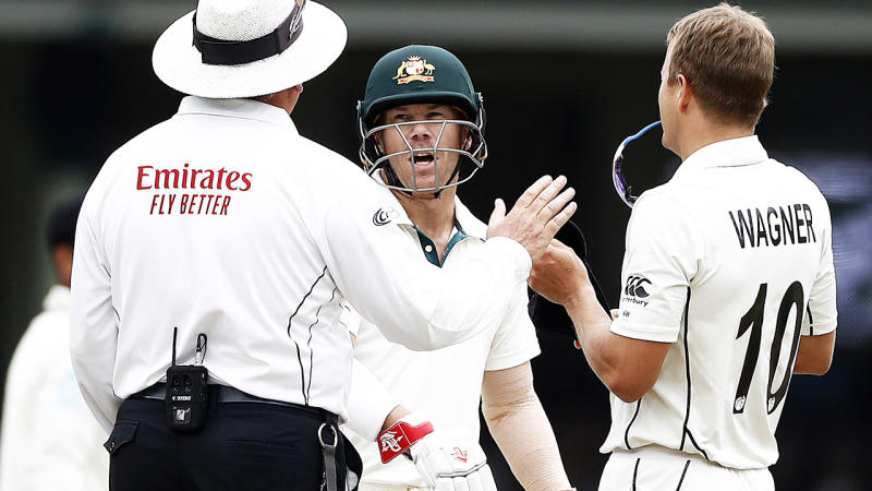 David Warner, pictured here questioning umpire Marais Erasmus about Neil Wagner's delivery.