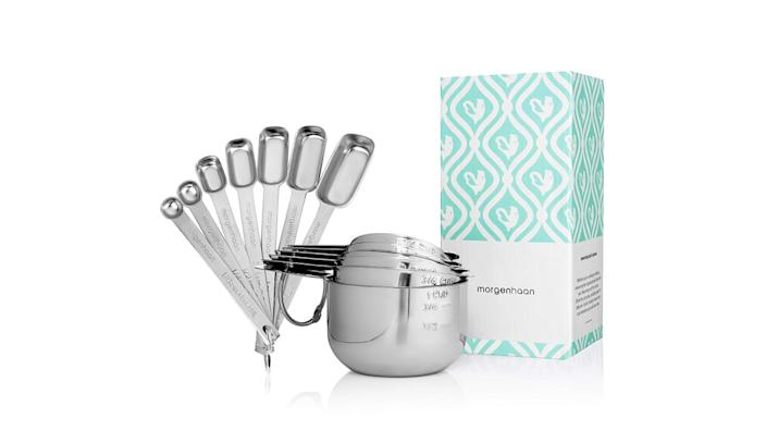 """<div class=""""inline-image__caption""""><p><a href=""""https://amzn.to/2pryWAw"""" rel=""""nofollow noopener"""" target=""""_blank"""" data-ylk=""""slk:Stainless-Steel Nesting Measuring Cups and Spoons Sets"""" class=""""link rapid-noclick-resp"""">Stainless-Steel Nesting Measuring Cups and Spoons Sets</a>, $28 on Amazon</p></div>"""