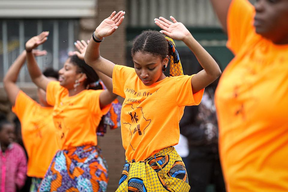 Members of a parade perform during the 48th Annual Juneteenth Day Festival in Milwaukee, Wisconsin. (Getty Images for VIBE)