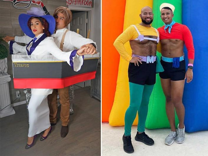 """A side-by-side of a couple dressed as Jack and Rose from """"Titanic"""" and a couple dressed as Mermaid Man and Barnacle Boy from """"Spongebob Squarepants."""""""