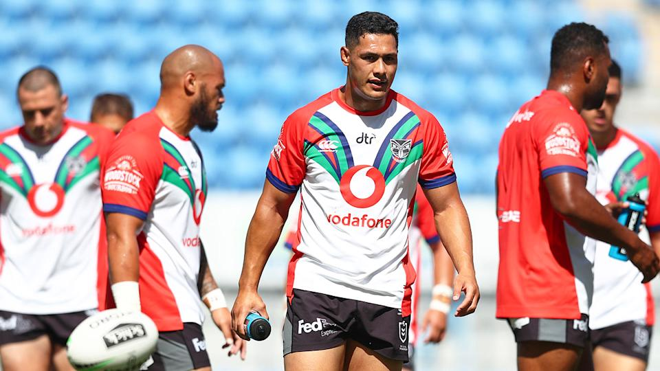 Pictured here, the New Zealand Warriors are awaiting clearances to arrive and start training in Australia.
