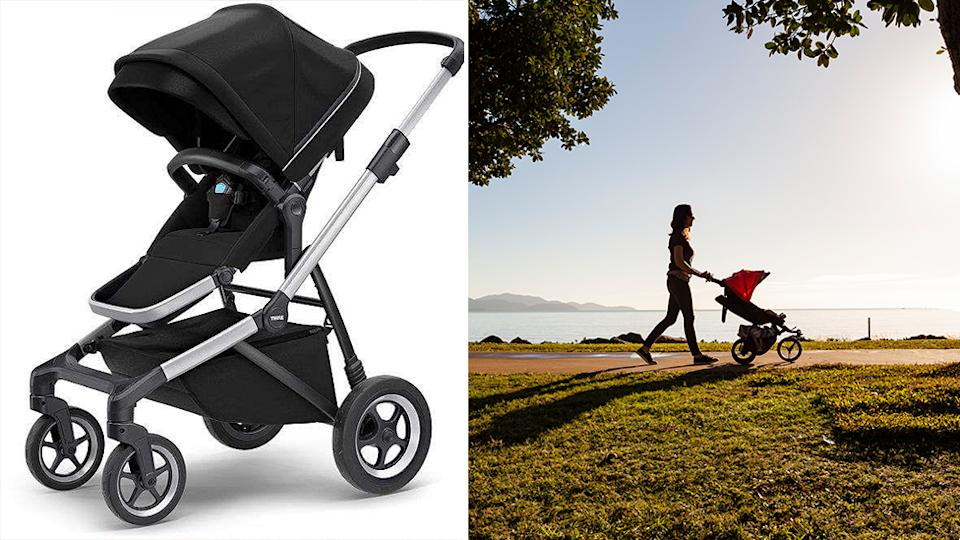 Pictured is the Thule Sleek stroller, the item which is being recalled due to fears of injuring a child, on the left is a generic photo of a woman walking with a stroller
