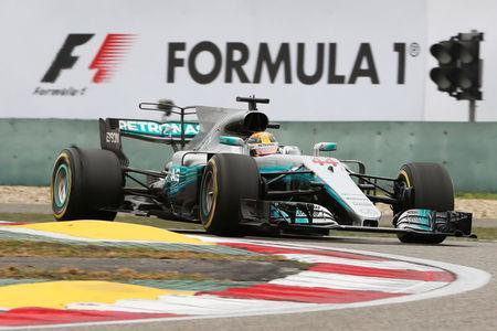 Formula One - F1 - Chinese Grand Prix - Shanghai, China - 09/04/17 - Mercedes driver Lewis Hamilton of Britain drives during the Chinese Grand Prix at the Shanghai International Circuit. REUTERS/Aly Song