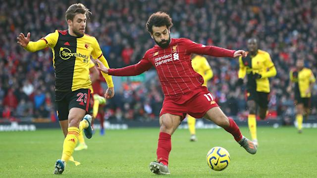 Mohamed Salah scored in either half as Liverpool found a way to break down a determined Watford 2-0 at Anfield.