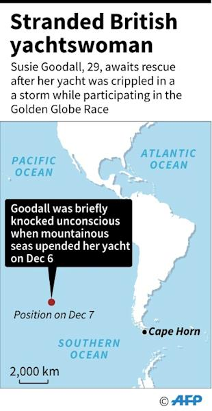 Map locating position of Susie Goodall's yacht in the Pacific, which was crippled in a storm