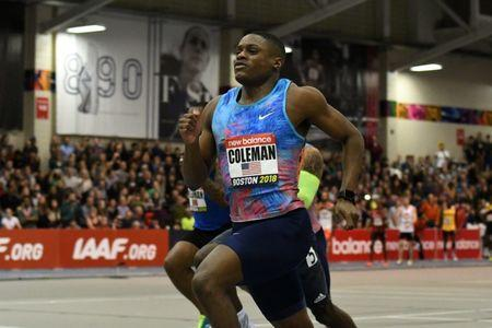 Feb 10, 2018; Boston, Massachussetts, USA; Christian Coleman (USA) wins the 60m in 6.46 during the New Balance Indoor Grand Prix at Reggie Lewis Center. Mandatory Credit: Kirby Lee-USA TODAY Sports