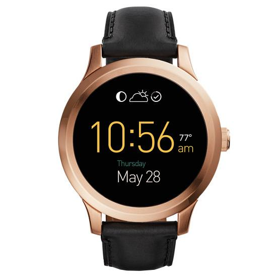 "<p>Opt for a smartwatch that's sleek and simple with a tech-savvy twist.</p> <p>$295 | <a rel=""nofollow"" href='https://www.fossil.com/us/en/products/fossil-q-founder-touchscreen-black-leather-smartwatch-sku-ftw20031p.html'>fossil.com</a></p>"