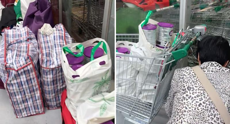 Daigou shoppers filled bags and trolleys with baby formula from Docklands Woolworths in Melbourne.