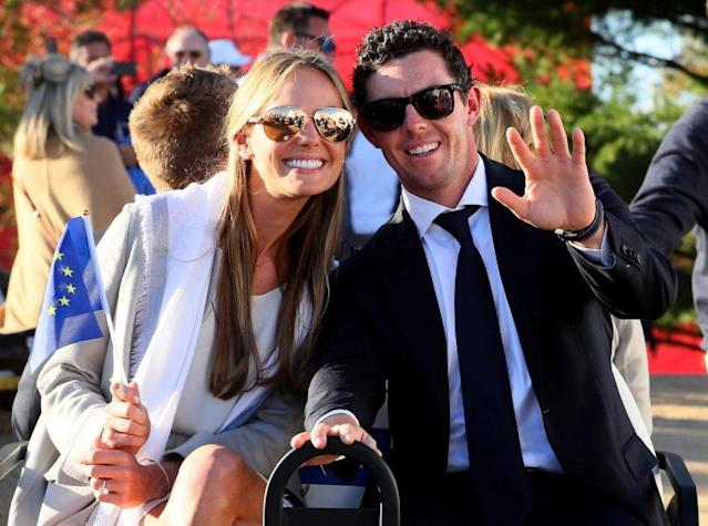 "<a class=""link rapid-noclick-resp"" href=""/pga/players/8016/"" data-ylk=""slk:Rory McIlroy"">Rory McIlroy</a> and Erica Stoll are set to say their 'I do's. (Getty Images)"