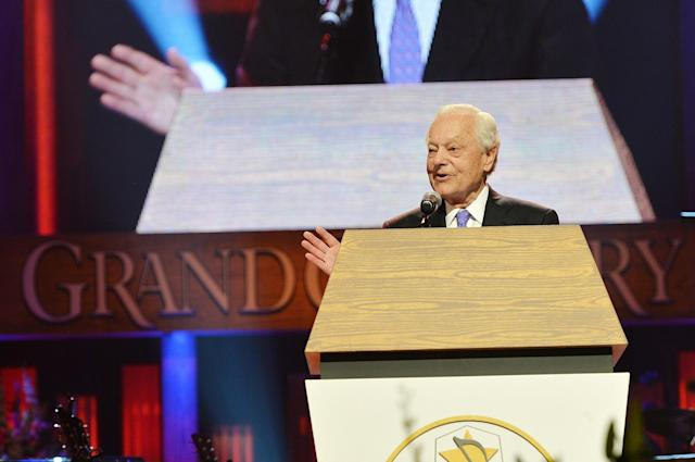 NASHVILLE, TN - MAY 02: (EXCLUSIVE COVERAGE) Journalist Bob Schieffer speaks at the funeral service for George Jones at The Grand Ole Opry on May 2, 2013 in Nashville, Tennessee. Jones passed away on April 26, 2013 at the age of 81. (Photo by Rick Diamond/Getty Images for GJ Memorial)