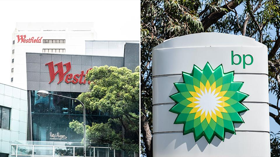 Pictured is general view of Westfield in Bondi Junction and on the left, a BP service station in Sydney
