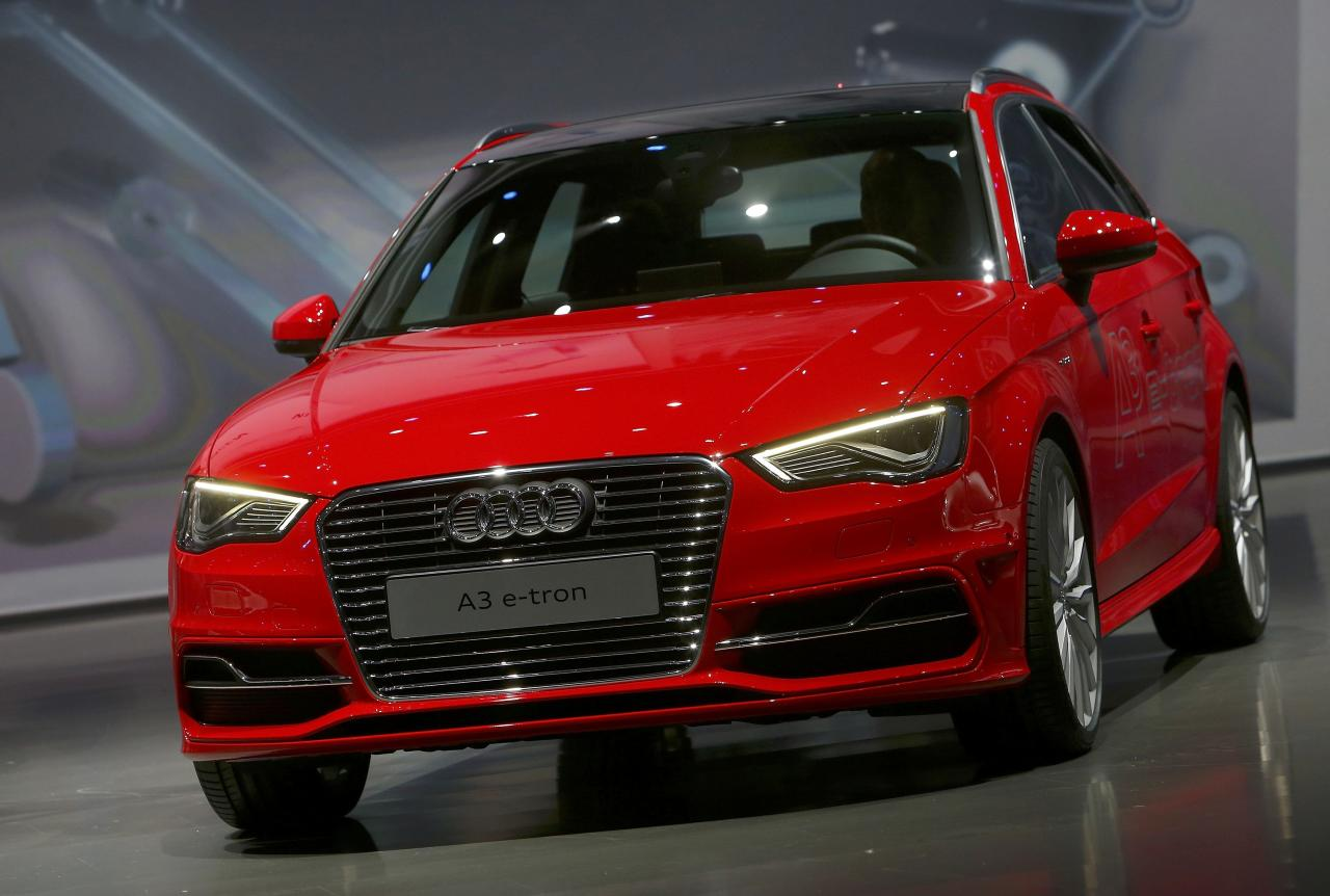 The new electric driven Audi A3 e-tron car is presented at the Volkswagen group night at the Frankfurt motor show September 9, 2013. The world's biggest auto show is open to the public September 14 -22. REUTERS/Ralph Orlowski (GERMANY - Tags: BUSINESS TRANSPORT)