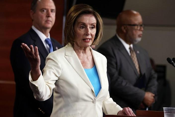WASHINGTON, DC - JULY 01: U.S. Speaker of the House Rep. Nancy Pelosi (D-CA) (2nd L) speaks as Rep. Bennie Thompson (D-MS) (R) and Rep. Adam Schiff (D-CA) (L) listen during a weekly news conference at the U.S. Capitol July 1, 2021 in Washington, DC. Speaker Pelosi announced her appointments of House Democratic members to the select committee to investigate the January 6th attack on the U.S. Capitol. (Photo by Alex Wong/Getty Images)